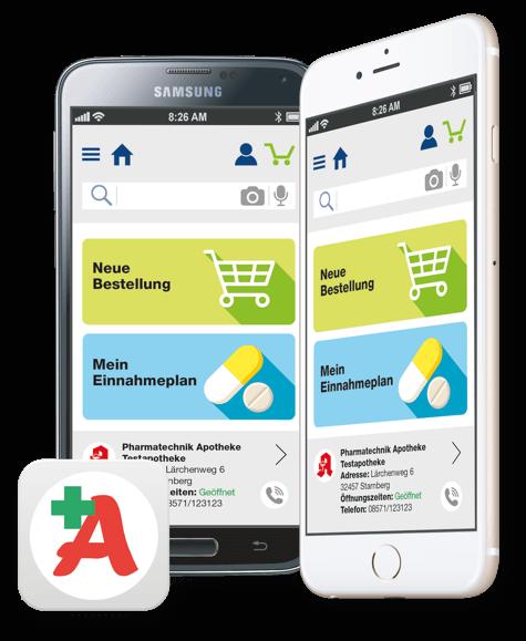 """""""Meine Apotheke"""" App auf verschiedenen Mobiltelefonen"""